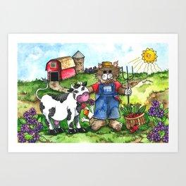 Farmer Fluffy at Harvest Time Art Print
