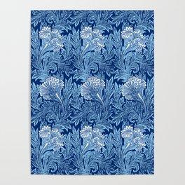 Jacobean Flower Damask, Cobalt and Light Blue Poster