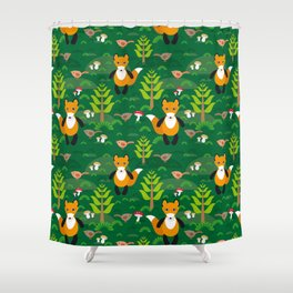 Fox and birds in the forest Shower Curtain