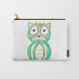 Owl Fun #6 #mint #green #gold #drawing #decor #art #society6 Carry-All Pouch