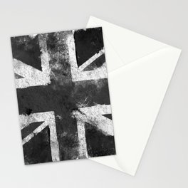 Black and white England Grunge flag Stationery Cards