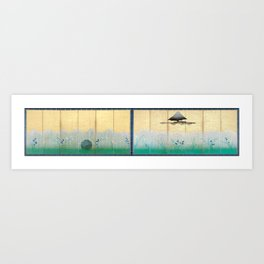 The Plain of Musashi, Mount Fuji and the Moon Art Print