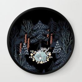 fairytale night forest Wall Clock