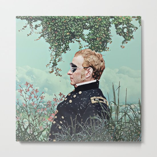 Floral clouds and captain Metal Print