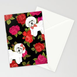 Bichon Frise dogs red rose floral for dog lovers Stationery Cards