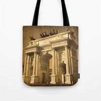 lee pace Tote Bags featuring Arco della Pace Milan by Louisa Catharine Photography And Art