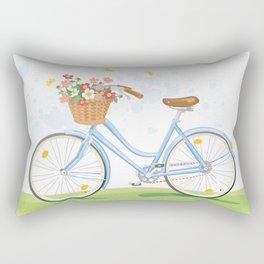 Vintage Bicycle with Flowerbasket Rectangular Pillow