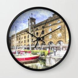 St Katherine's Dock London  Art Wall Clock