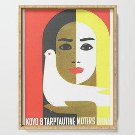 Vintage Russian Poster, USSR Soviet Union International Women's Day by Juozas Galkus 1968 Serving Tray
