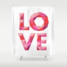 Red Faceted Love Stacked Shower Curtain