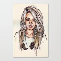 sky ferreira Canvas Prints featuring Sky Ferreira by vooce & kat