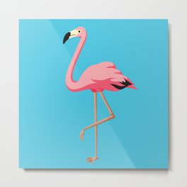 the Flamingo - vintage style illustration Metal Print