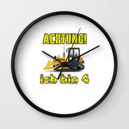 Achtung! Ich bin 4 Geburtstag baufahrzeuge Wall Clock