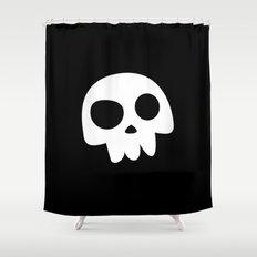 Skull Head logo with Three Teeth | Bones, white, pirates, symbolism, mortality, death, Halloween Shower Curtain
