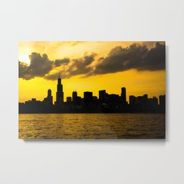 Chicago Skyline Sunset Metal Print