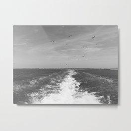 Black and White Boat Trail Metal Print