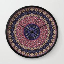 Hippie Mandala Flower, Purple, Mauve, Pink Wall Clock