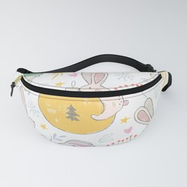 Christmas Rabbits and Ornaments Fanny Pack