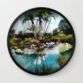 Flamingo Lagoon Wall Clock