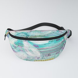 mixed media flowers Fanny Pack