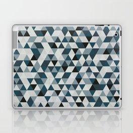 Sea Blue and Grey / Gray - Hipster Geometric Triangle Pattern 02 Laptop & iPad Skin