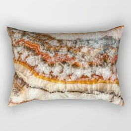 Agate Crystal IV // Red Gray Black Yellow Orange Marbled Diamond Luxury Gemstone Rectangular Pillow
