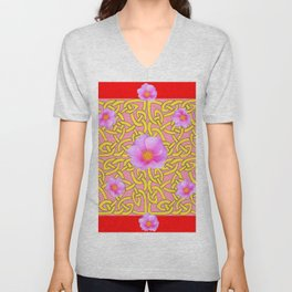 RED  PINK ROSES YELLOW PATTERN Unisex V-Neck