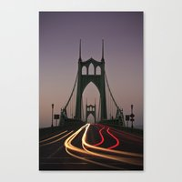 marc johns Canvas Prints featuring St. Johns Bridge by Cameron Booth