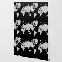 Minimalist World Map Gray on Black Background Wallpaper