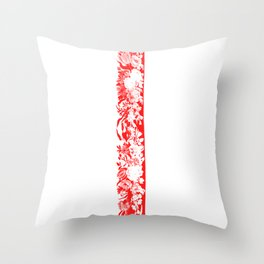 Decorative Floral Frame 1, Red Throw Pillow