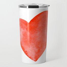 Red Watercolor Heart Travel Mug