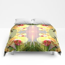 Yellow Orchid Pattern Comforters