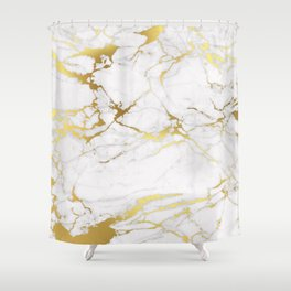 White gold marble Shower Curtain