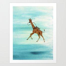 Scuba Giraffe Art Print