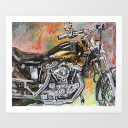 Black Motorcycle Gary's Bike Art Print