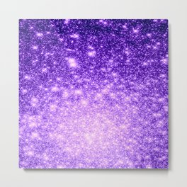 Purple Stars Ombre Metal Print