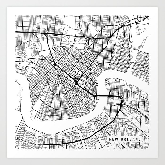 New Orleans Map, USA - Black and White Art Print by mainstreetmaps ...