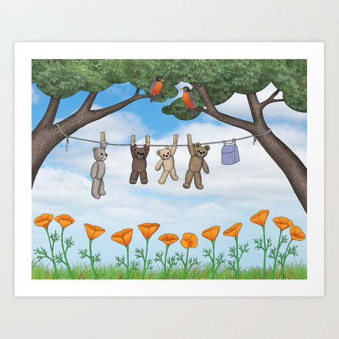 robins, poppies, & teddy bears on the line Art Print