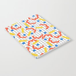 Primal - memphis throwback squiggle circle geometric grid lines dots trendy hipster 80s retro cool Notebook