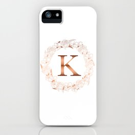 Letter K Rose Gold Initial Wedding  iPhone Case