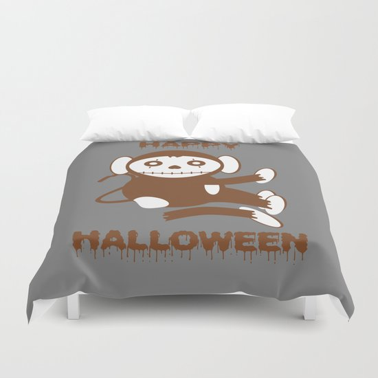Dead Monkey Happy Halloween Duvet Cover