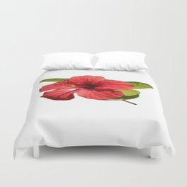 A Red Hibiscus Flower Isolated On White Background  Duvet Cover