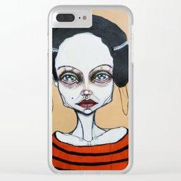 black orange stripes Clear iPhone Case