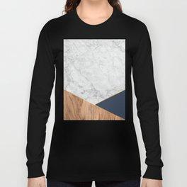 White Marble - Wood & Navy #599 Long Sleeve T-shirt
