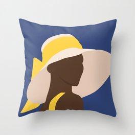 ebony in yellow portrait Throw Pillow