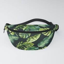 Watercolor Botanical Tropical Palm Leaves on Solid Black Background Fanny Pack