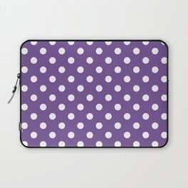 Small Polka Dots - White on Dark Lavender Violet Laptop Sleeve