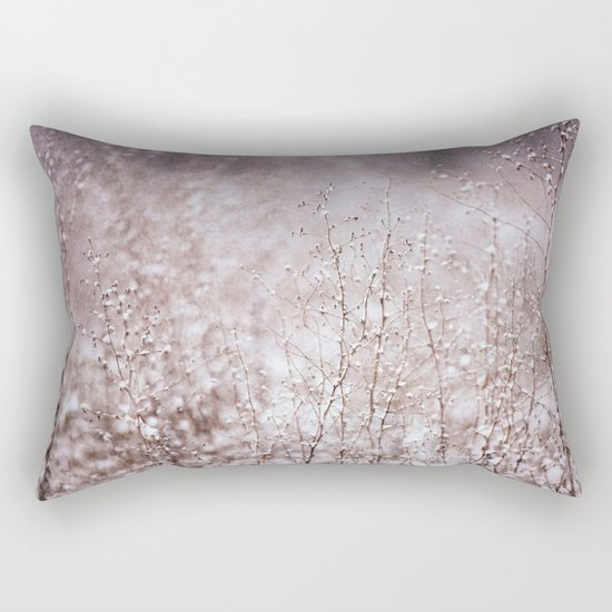Snowy branches in the rain Rectangular Pillow