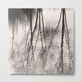 Mirroring. Lake reflections of trees. Metal Print