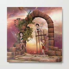 Cute playing fairys in the sunset Metal Print